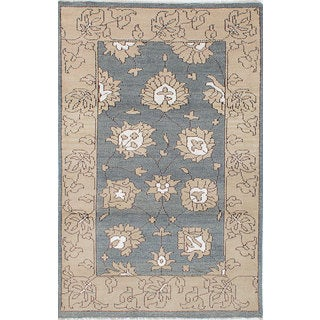 eCarpetGallery Eternity Grey Wool and Silk Hand-knotted Rug (4'11 x 8')