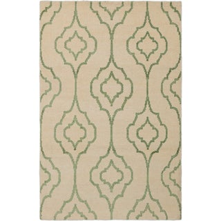 eCarpetGallery La Seda Ivory Wool and Art Silk Hand-knotted Rug (5'2x7'11)