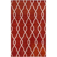eCarpetGallery La Seda Red Wool and Art Silk Hand-knotted Rug (4'11 x 7'11)
