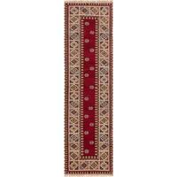 ecarpetgallery Hand-Knotted Royal Kazak Red  Wool Rug (2'9 x 9'10)