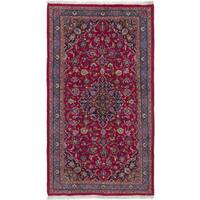 eCarpetGallery Mashad Red Wool Hand-knotted Rug - 3'9 x 6'10