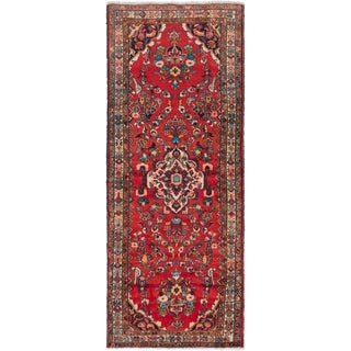 eCarpetGallery Hamadan Red Wool Hand-knotted Rug (4'2 x 10'1)