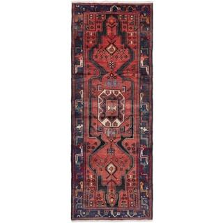 eCarpetGallery Hamadan Red/Copper/Blue Wool Hand-knotted Runner (3'9 x 9'10)