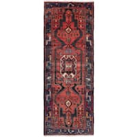 eCarpetGallery Hamadan Red/Copper/Blue Wool Hand-knotted Runner (3'9 x 9'10)