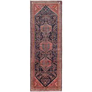 eCarpetGallery Hand-knotted Hamadan Blue Wool Rug (3'7 x 10'3)