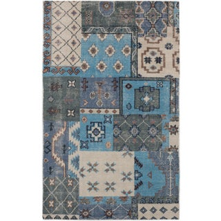 eCarpetGallery Hand-Knotted Eternity Blue/Grey Wool Rug (5' x 8'1)