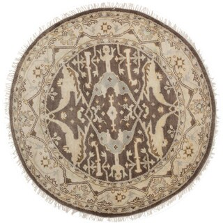 eCarpetGallery Hand-knotted Royal Ushak Brown Wool Rug - 5'1 x 5'1