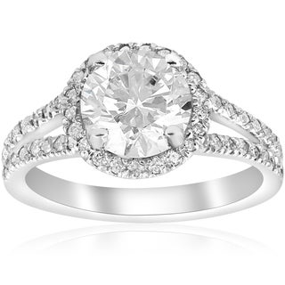 14K White Gold 2 1/2 ct TDW Diamond Clarity Enhanced Halo Split Shank Engagement Ring (H-I,I2-I3)