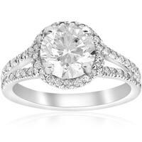 14K White Gold 2 1/2 ct TDW Diamond Clarity Enhanced Halo Split Shank Engagement Ring (H-I,I2-I3)