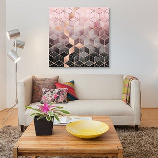 iCanvas 'Pink And Grey Cubes' by Elisabeth Fredriksson Canvas Print