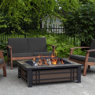 Superior Real Flame Hamilton Black Steel Fire Pit With Natural Slate Tile Top