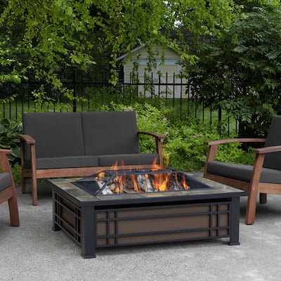 Hamilton Black Steel Fire Pit with Natural Slate Tile Top