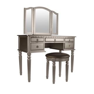 Bobkona St. Croix Rubberwood Veneer 3-fold Mirror Vanity Table with Stool Set with 5 Drawers