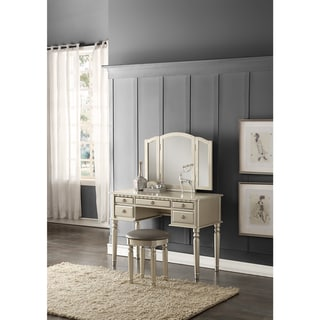 Bobkona St. Croix Rubberwood Veneer 3-fold Mirror Vanity Table with Stool Set with 5 Drawers