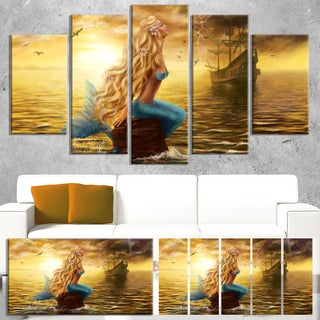 Sea Mermaid with Ghost Ship - Seascape Digital Art Canvas Print 60W x 32H(As Is Item)