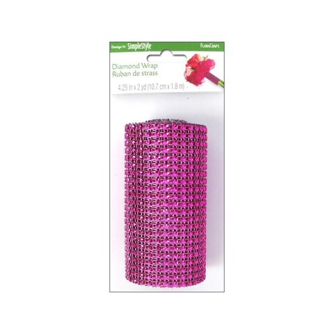 "Floracraft Ribbon Diamond Wrap 4.25""x6ft Fuchsia"