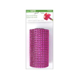 "Floracraft Ribbon Diamond Wrap 4.25""x6ft Fuchsia"