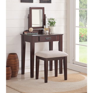 Bobkona Stephanie White/Espresso Rubberwood/MDF/Veneer Vanity Set With Stool