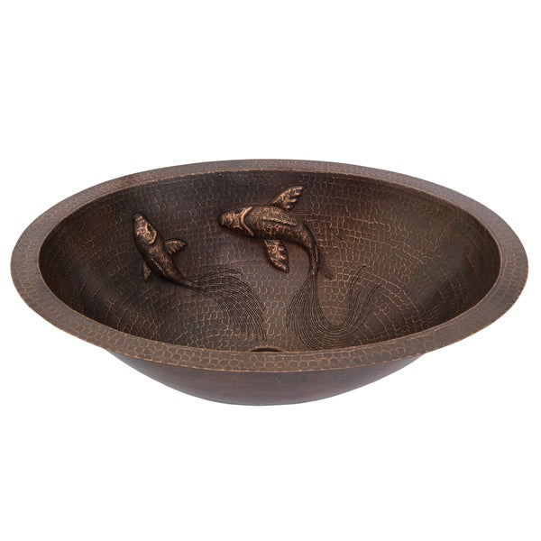 Oval Under Counter Hammered Copper Bathroom Sink With Koi Fish - Under counter bathroom sinks