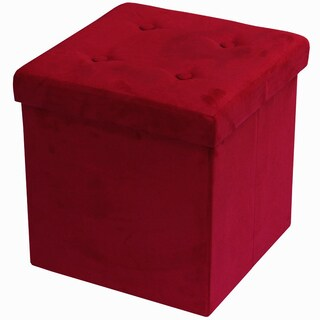 Red Suede Foldable Storage Ottoman