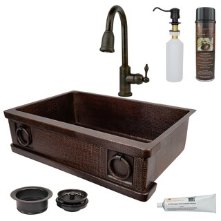 Premier Copper Products - KSP2_KASDB33229R Kitchen Sink, Faucet and Accessories Package