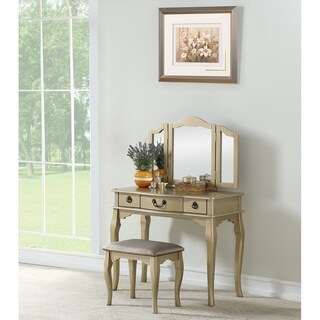 "Bobkona Susana Tri-fold Mirror Vanity Table and Stool Set - 52""h x 36""w x 13""d"