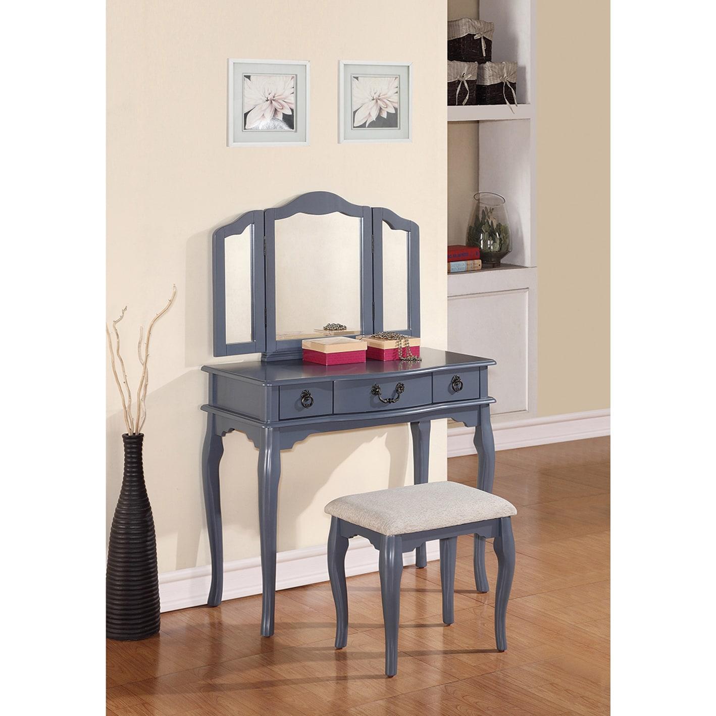 Poundex Bobkona Susana Tri-fold Mirror Vanity Table and S...