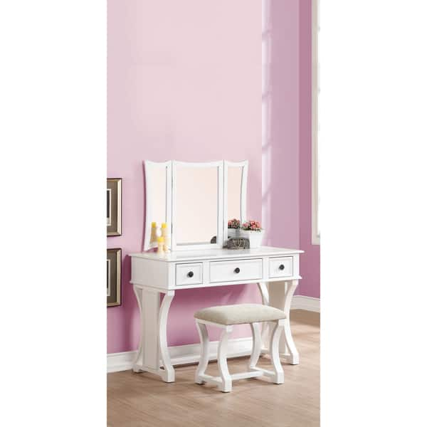 Admirable Shop Bobkona Edna Vanity Set With Mirror And Stool Free Machost Co Dining Chair Design Ideas Machostcouk
