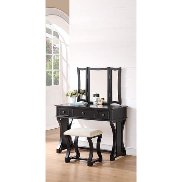 Incredible Shop Bobkona Edna Vanity Set With Mirror And Stool Free Machost Co Dining Chair Design Ideas Machostcouk