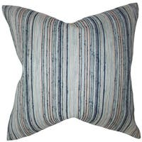 Bartram Stripes 24-inch Down Feather Throw Pillow Blue