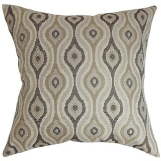 "Fillie Ikat 24"" x 24"" Down Feather Throw Pillow Gray"