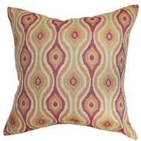 "Fillie Ikat 24"" x 24"" Down Feather Throw Pillow Sunrise"