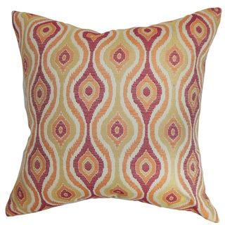 """Fillie Ikat 24"""" x 24"""" Down Feather Throw Pillow Sunrise"""
