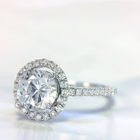 Lihara and Co. 18K White Gold and 0.30ct TDW Semi-Mount Diamond Halo Engagement Ring (G-H, VS1-VS2) - White G-H