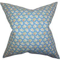 "Parren Floral 24"" x 24"" Down Feather Throw Pillow Blue"
