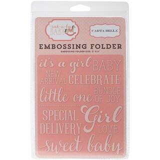 """Carta Bella Embossing Folder 5""""X5.875""""-Rock-A-Bye, Sweet Baby Girl"""