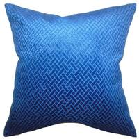Delora Solid 24-inch Down Feather Throw Pillow Blue Velvet
