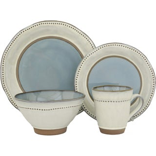 ruvo 16piece blue grey stoneware dinnerware set service for 4
