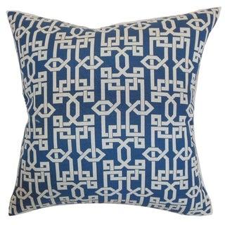 """Cananea Geometric 24"""" x 24"""" Down Feather Throw Pillow Blueberry"""