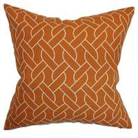 """Neptune Geometric 24"""" x 24"""" Down Feather Throw Pillow Mango"""