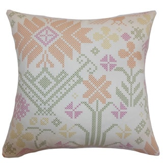 Dori Cross Stitch 24-inch Down Feather Throw Pillow Summer
