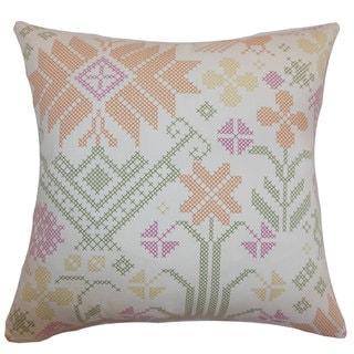 Dori Cross Stitch 24-inch Down Feather Throw Pillow Summer