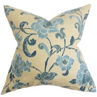 Duscha Floral 24-inch Down Feather Throw Pillow Blue Yellow