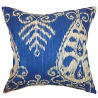 Hargeisa Ikat 24-inch Down Feather Throw Pillow Sapphire
