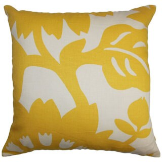 Fayre Floral 24-inch Down Feather Throw Pillow Yellow