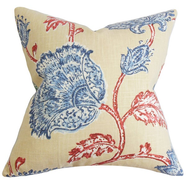 "Parthenia Floral 24"" x 24"" Down Feather Throw Pillow Red Blue"