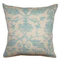 Kabala Floral 24-inch Down Feather Throw Pillow Turq