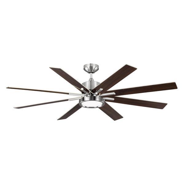 Monte Carlo Empire Dr 1 Light Brushed Steel Ceiling Fan
