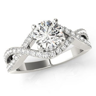 Scintilenora Intertwined Diamond Criss Cross Engagement Ring 18k Gold 1 1/10 TDW