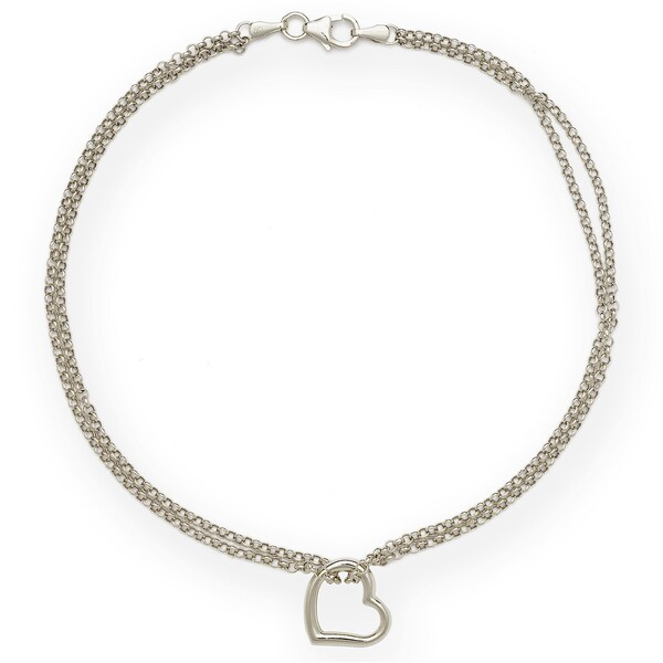 14k White Gold Freeform Heart Double Strand 10 Inch Ankle Bracelet